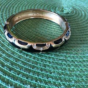 Black Enamel & Gold w Crystals Bangle Bracelet